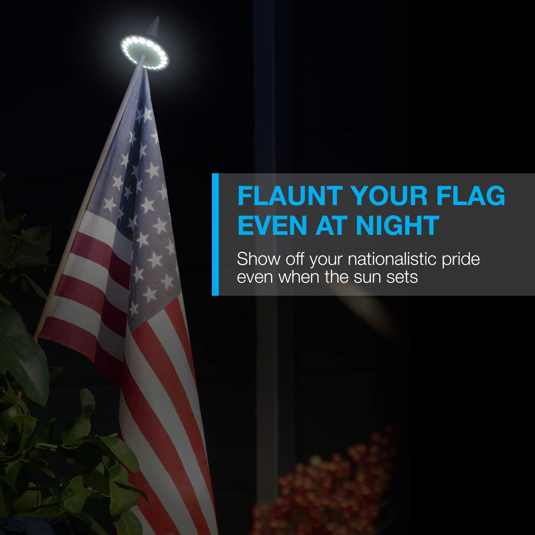 Solar Flag Pole Light, Lasts 2X Longer Than Competition, Super Bright Flag Pole Lights, 100% Flag Coverage, Fits Most Most Flag Poles, Flag Pole Lights Solar Powered, Bright Energy Saving LEDs - Vont by Vont (Image #2)