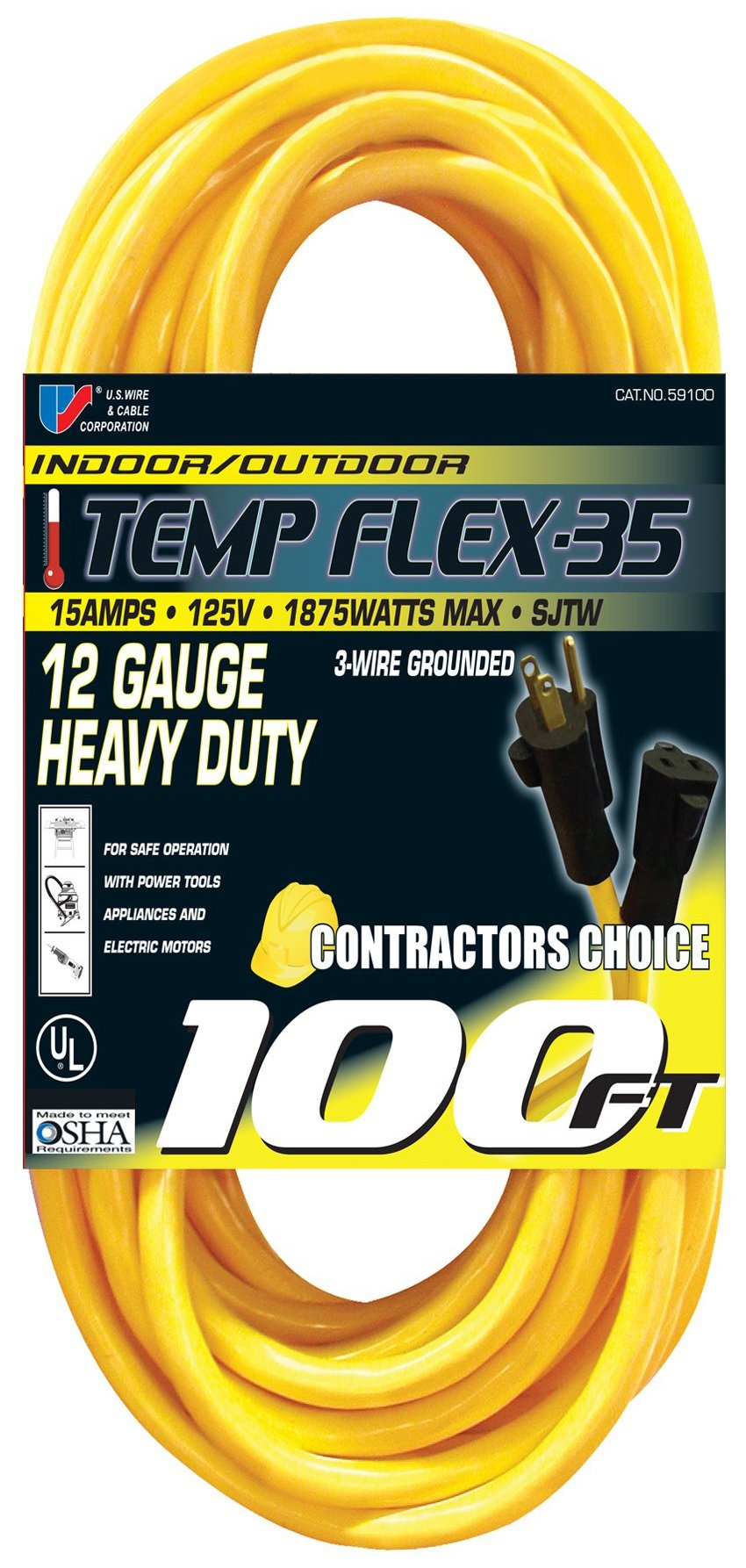 US Wire 59100 12/3 100-Foot SJTW Yellow Heavy Duty Extension Cord