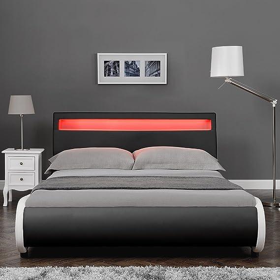 Corium Cama Elegante tapizada en Piel sintética - con Sistema de iluminación LED - 180x200cm (Negro)