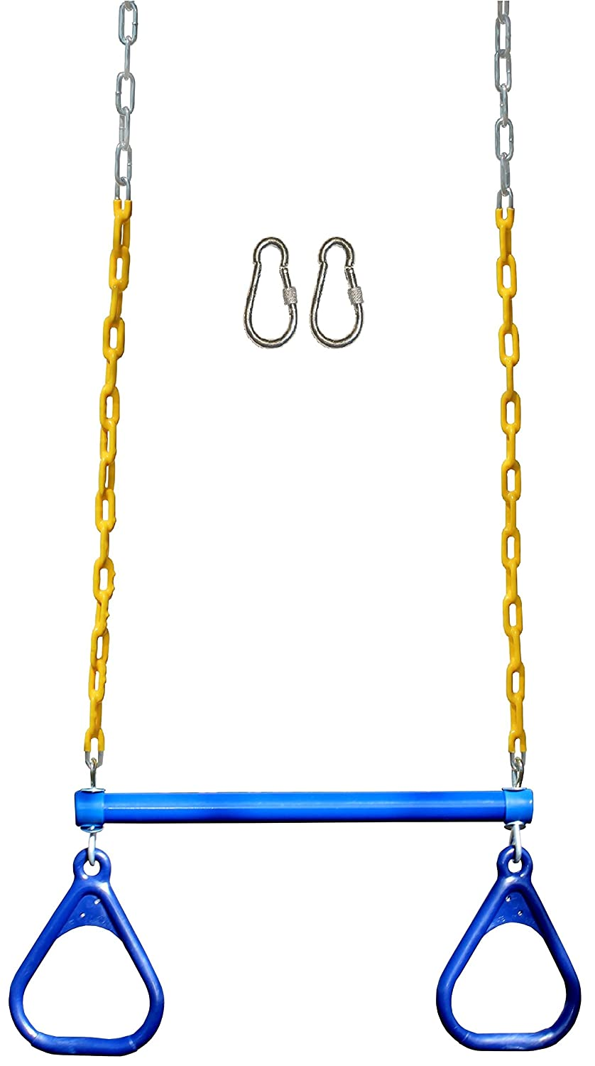 Jungle Gym Kingdom Trapeze Swing Bar with Rings 48 Heavy Duty Chain Swing Set Accessories & Locking Carabiners - Blue
