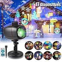 infinitoo 17 Motifs Projecteur Noël LED Extérieur Lumière Etanche avec Télécommande, Lampe Décorative Eclairage, Lampe de Scène Parfait pour les Fêtes(Noël, Halloween.), Soirée, Carnaval, etc.