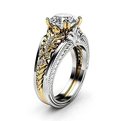 1682cca99 Ruvee Abstract Love Dual Tone Gold & Platinum Plated White Swarovski Crystal  Ring for Women &
