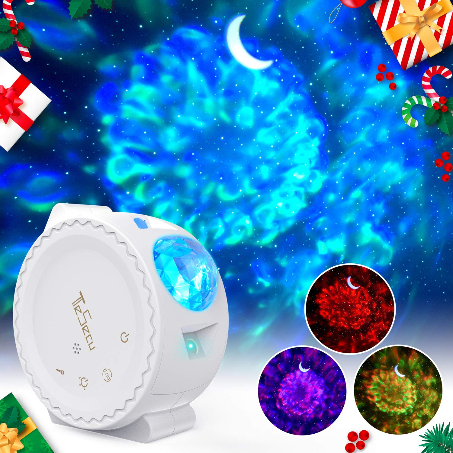 Tesecu Star Projector Light LED Water Wave Light Projector for Kids Baby 13 Light Effects Starry Night Light Projector with Voice Control Romantic Bedroom Gifts for Birthday Christmas