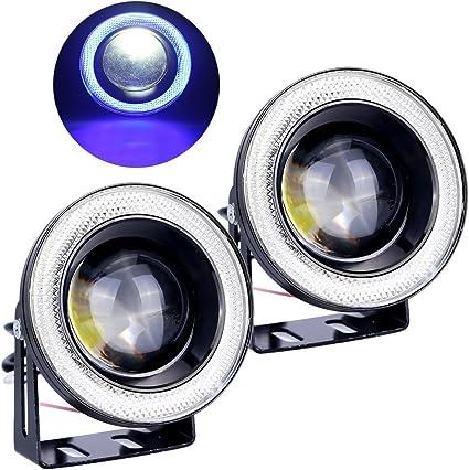COB Waterproof Car LED Angel Eyes Halo Ring Fog Lamps Daytime Running Light 12V