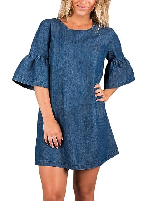 Mujer Vestidos Vaqueros Azules Cortos Elegante Verano Otoño Vestido Casual Sueltos Línea A Años 20 Niña