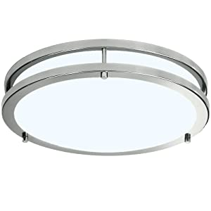 LB72162 12-Inch LED Flush Mount Ceiling Light, Antique Brushed Nickel, 5000K Daylight, 1050 Lumens, ETL & DLC Listed, Energy Star, Dimmable LED Ceiling Light