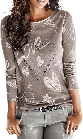 Camisa de Mujer Manga Larga O-Cuello Carta Impreso Algodón Casual Suelto Blusa Tops Camiseta LMMVP (M, Café): Amazon.es: Ropa y accesorios