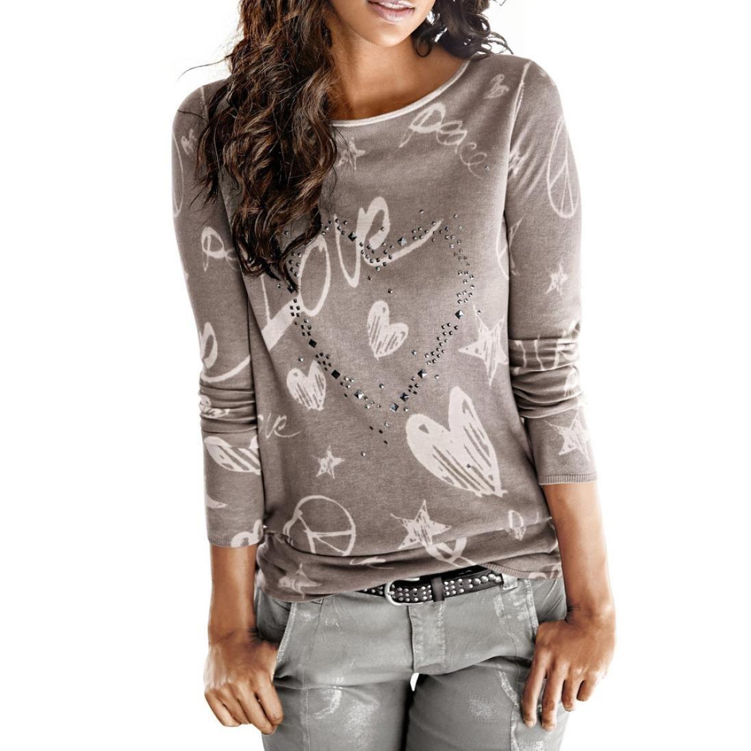 Camisa de mujer Manga larga O-cuello Carta Impreso Algodón Casual Suelto Blusa Tops Camiseta LMMVP