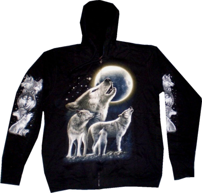 Evil Wear Herren Damen Sweatshirt Kapuzen Pullover M-XXL Motiv Mond Wolf schwarz
