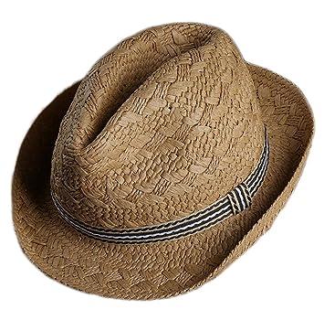 Wicemoon Panama Chapeau Paille Enfant Garçon Chapeau de Soleil Panama  Classique de Lin Style Simple 6388684a9b5