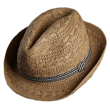 f2e207f5e77 Lumanuby Hat Child Boys Girls Sweet Cute Solid Color Elegant Jazz Straw Hat  Sun Cap Summer