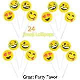"Pack of 24 Yellow Emoji Face Lollipops 4"", By 4E's Novelty,"