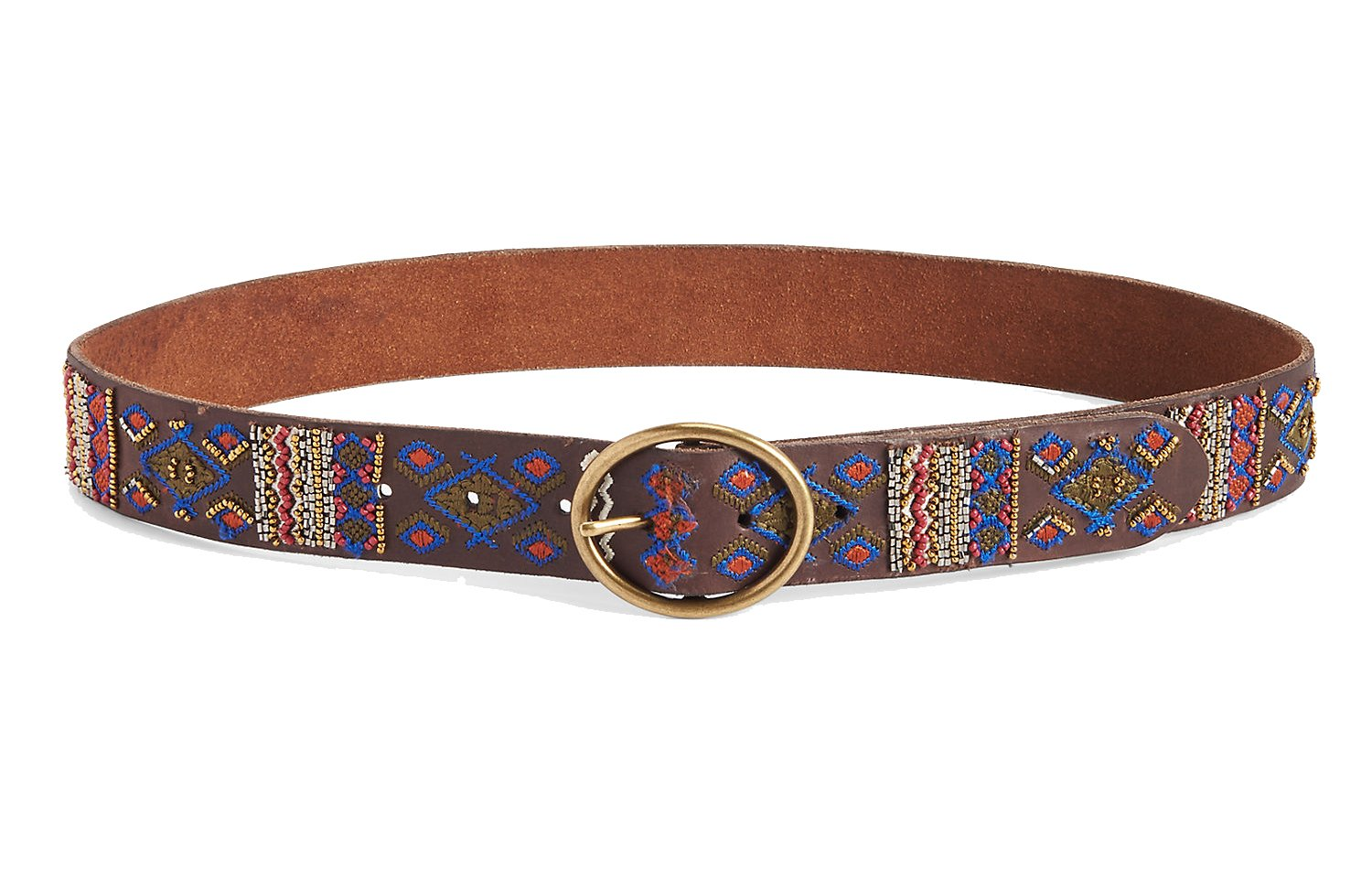 Lucky Brand Women's - Multi Embroidered Brown Leather Belt (Small)