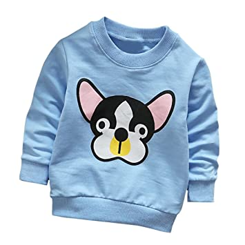 a6f97ac0 Amazon.com : Sunbona Toddler Baby Boys Girls Dog Print Soft Sweatshirt Long  Sleeve T Shirt Top Outfits Clothes Set (Blue, 3T(2~3years)) : Baby