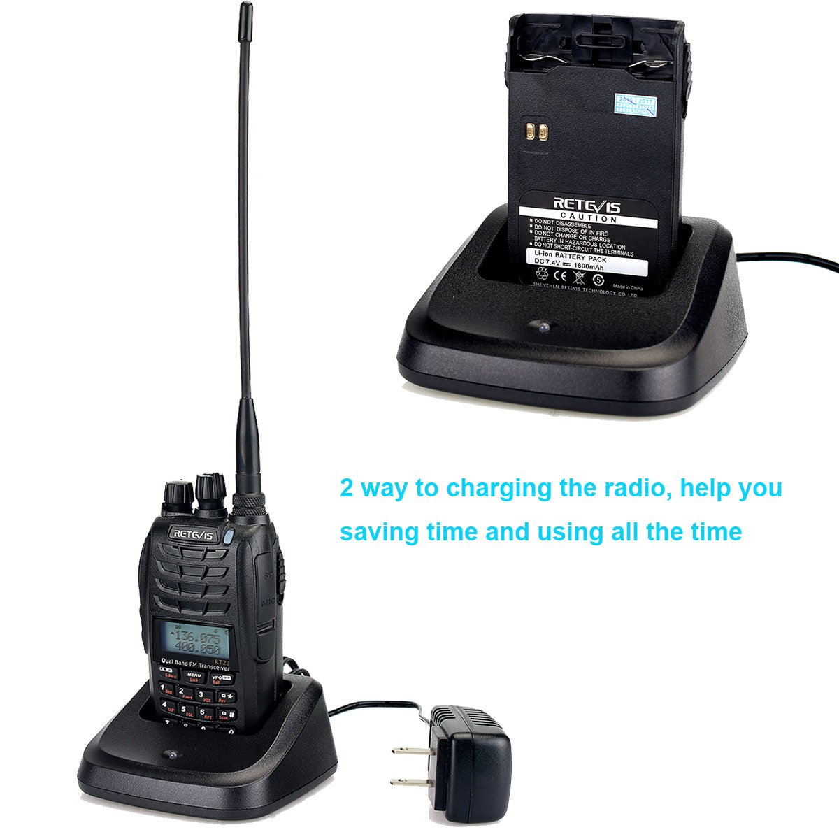 Retevis RT23 Walkie Talkie Dual Band UHF//VHF Radio Dual PTT Dual Receive Two Way Amateur Ham Radio 128CH 1750Hz DTMF FM VFO//MR//CH 1600mAh Two Way Radio USA9122A-C9018A 1 Pack
