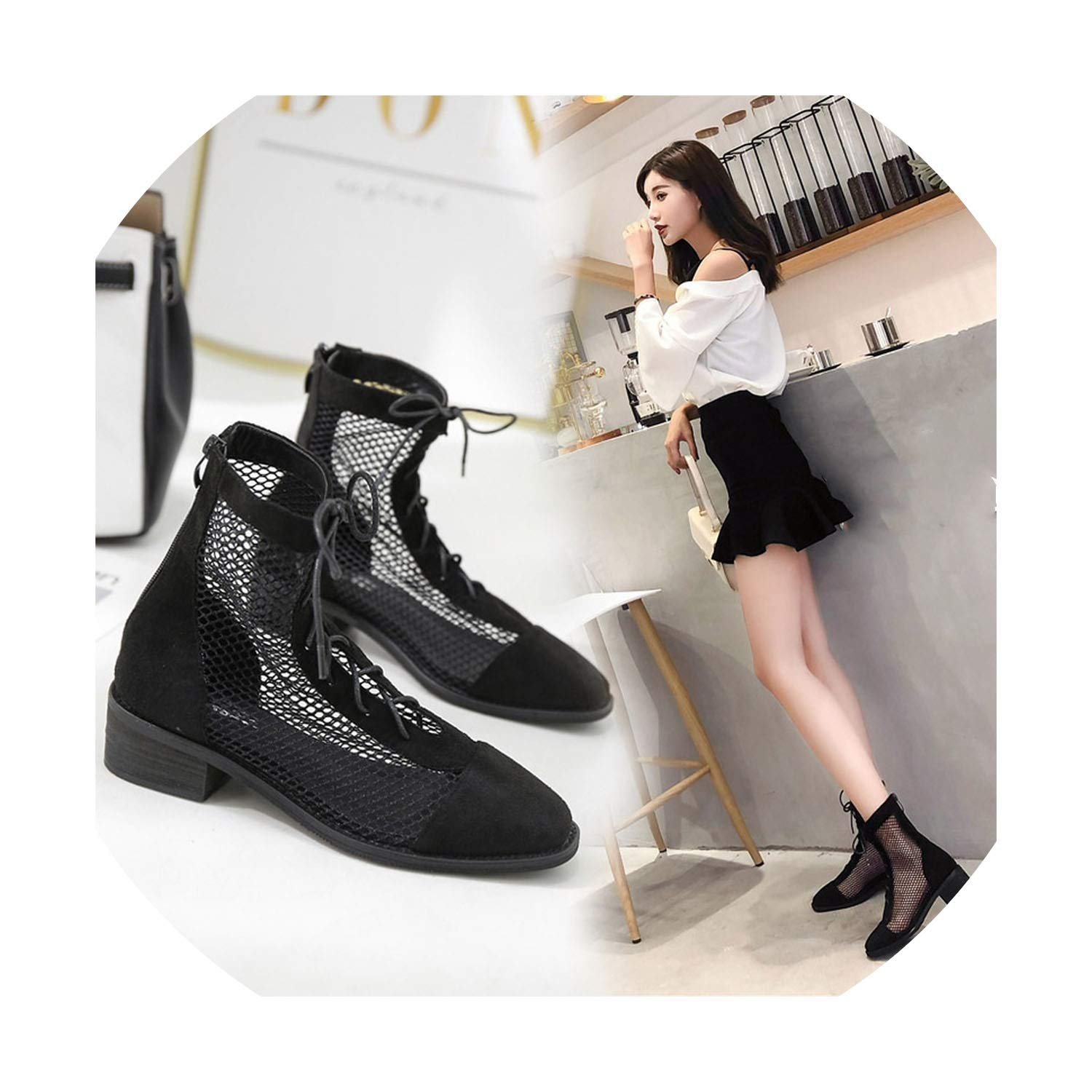 Womens Mesh Round Toe Low Heel Ankle-high Summer Sandals Boots Breathable Gladiator Sandals New Rome Party Shoes Lady,Black,6