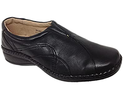 22a9429b201 Ladies Ganstead Cushion Walk Black Faux Leather Slip On Flat Loafer Shoes  Size 3-8