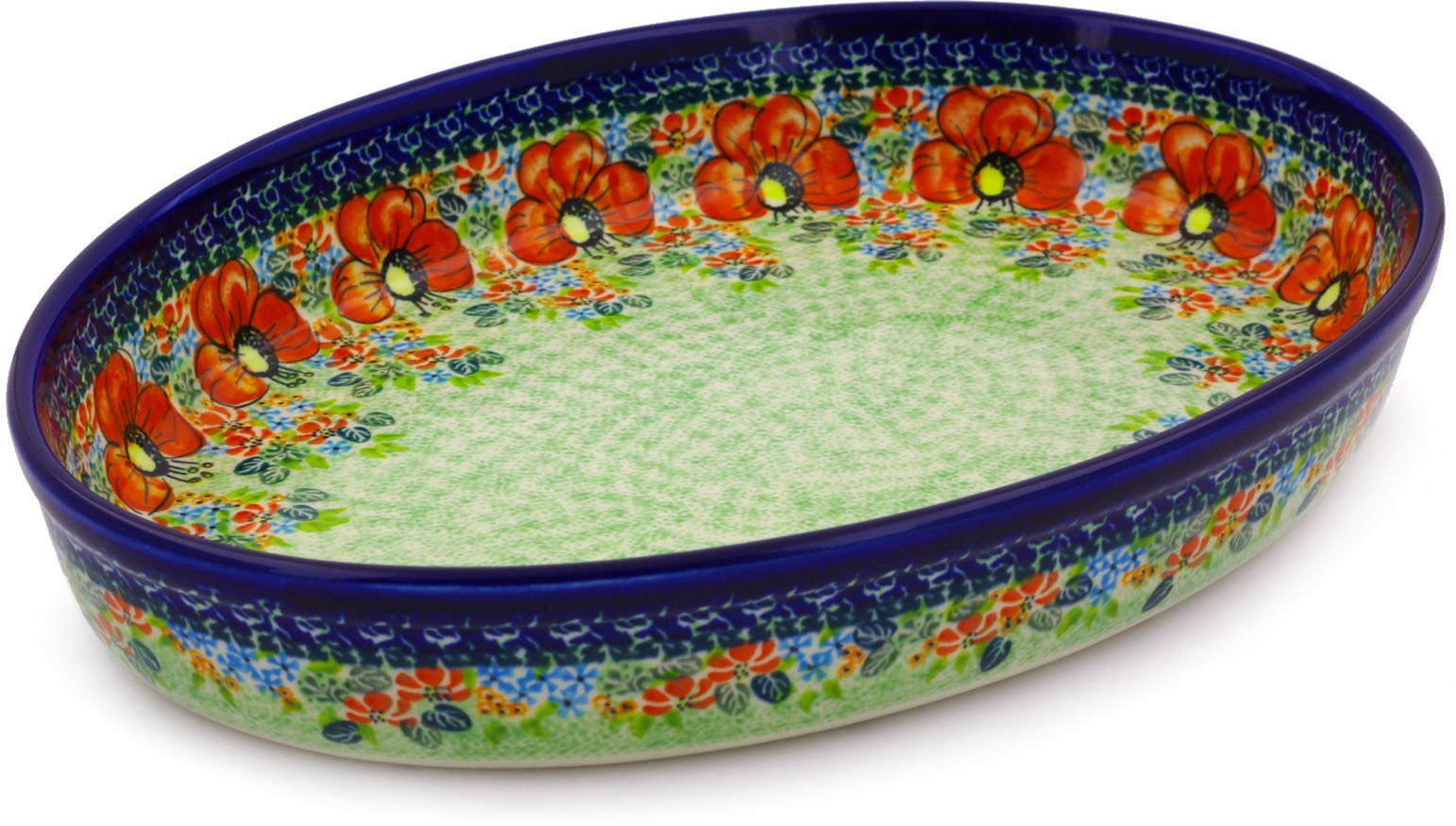 Polish Pottery Oval Baker 14-inch (Garden Meadow) UNIKAT