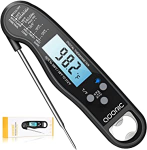 Digital Instant Read Meat Thermometer, Adoric Waterproof Food Thermometer with Backlight LCD, Kitchen Cooking Thermometer Probe for Grilling Oven Smoker BBQ-Black
