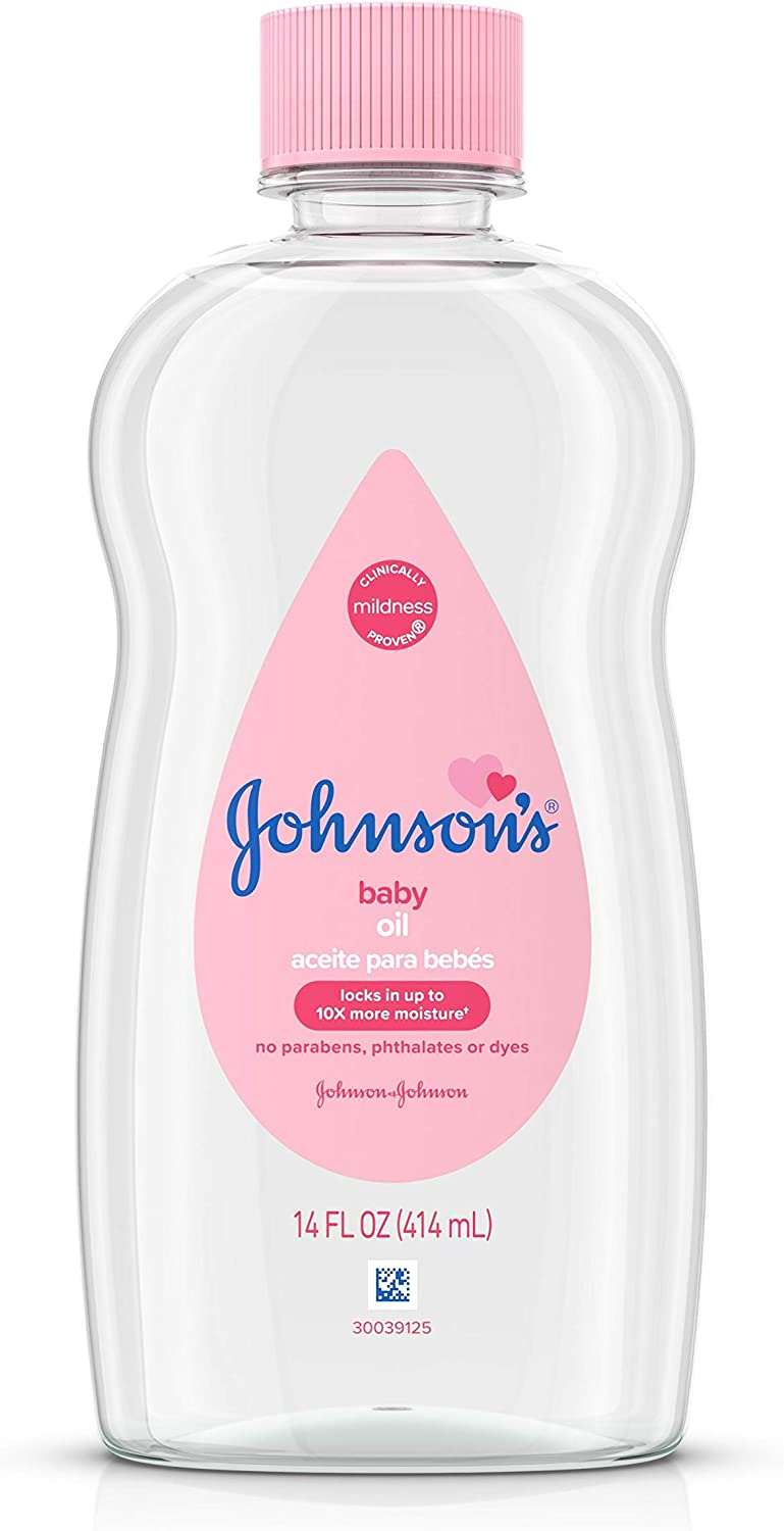 Johnson's Baby Oil, Pure Mineral Oil to Prevent Moisture Loss, Original 14 fl. oz (Packaging May Vary)(Pack of 6): Health & Personal Care