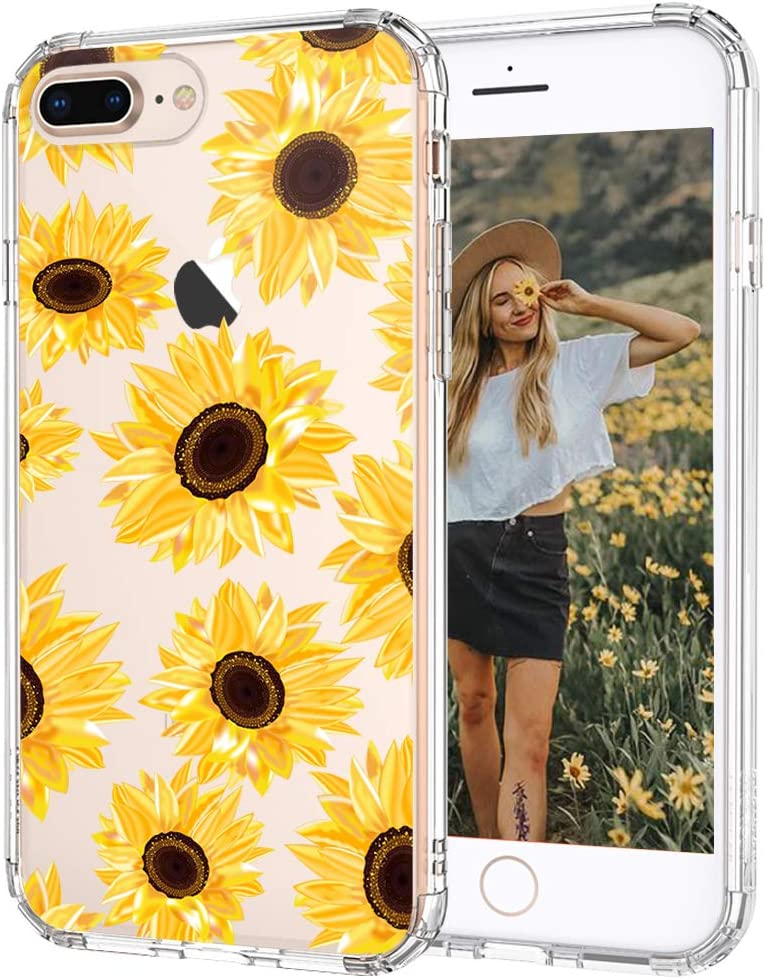 iPhone 7 Plus Case, iPhone 8 Plus Case, iPhone 7 Plus Case for Women, MOSNOVO Floral Flower Sunflower Pattern Clear Design Case with TPU Bumper Cover ...