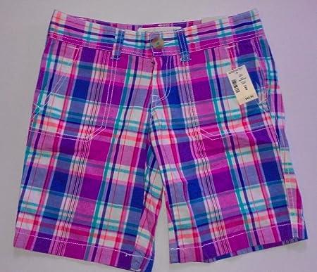 Aeropostale Pantalones Cortos Juniors Sz 00 Cuadros Checks Azul Y Violeta Rosa Verde Para Mujer Amazon Es Deportes Y Aire Libre