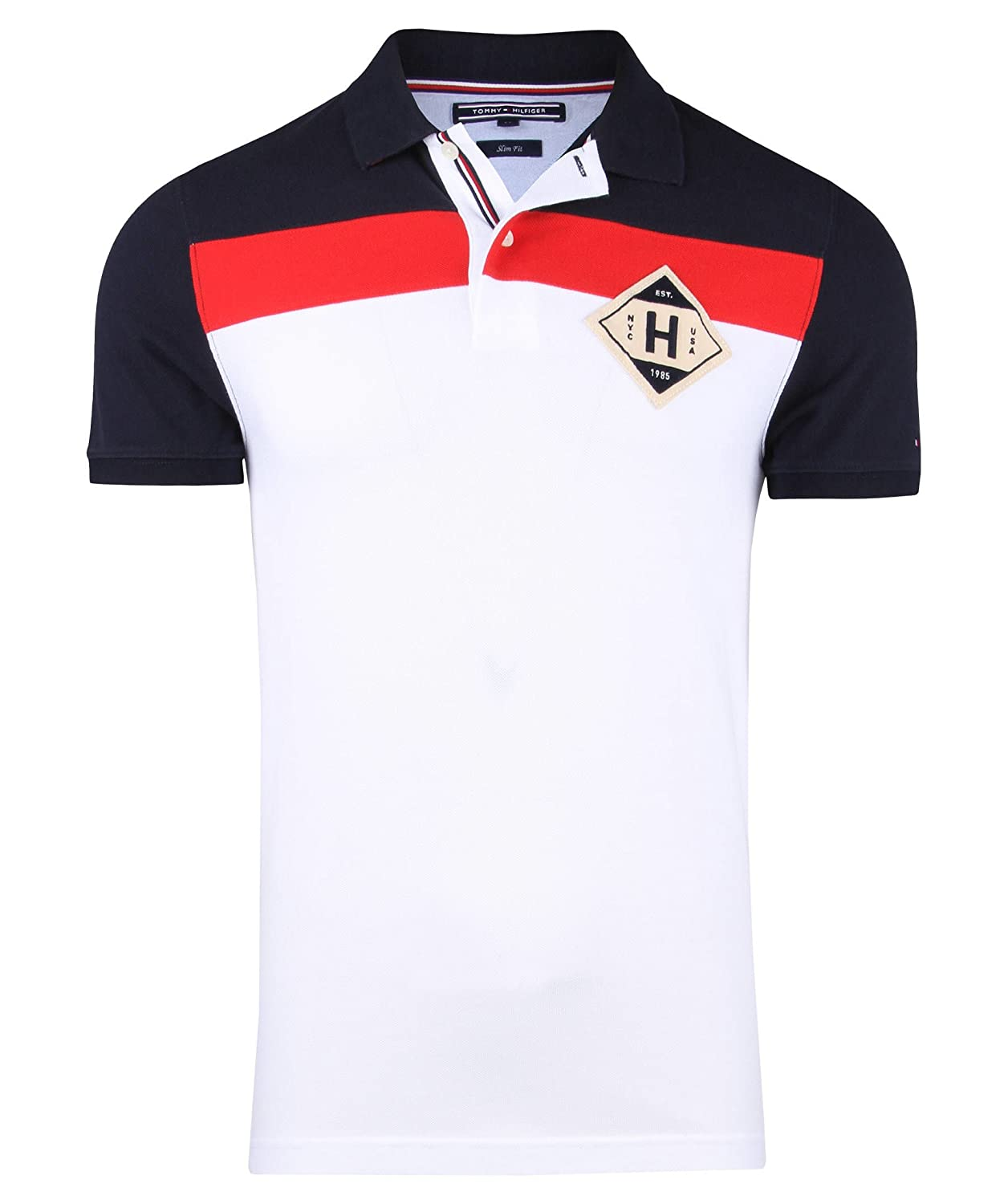 Tommy Hilfiger Miles PCD Polo S/S SF, Blanco (Classic White/Mars ...