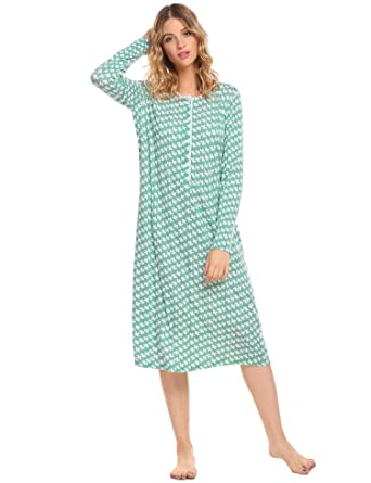 0447ed5f56 Goldenfox Nightdress Womens Cotton Sleep Dress Comfy Nightgowns Loung Wear  (Green
