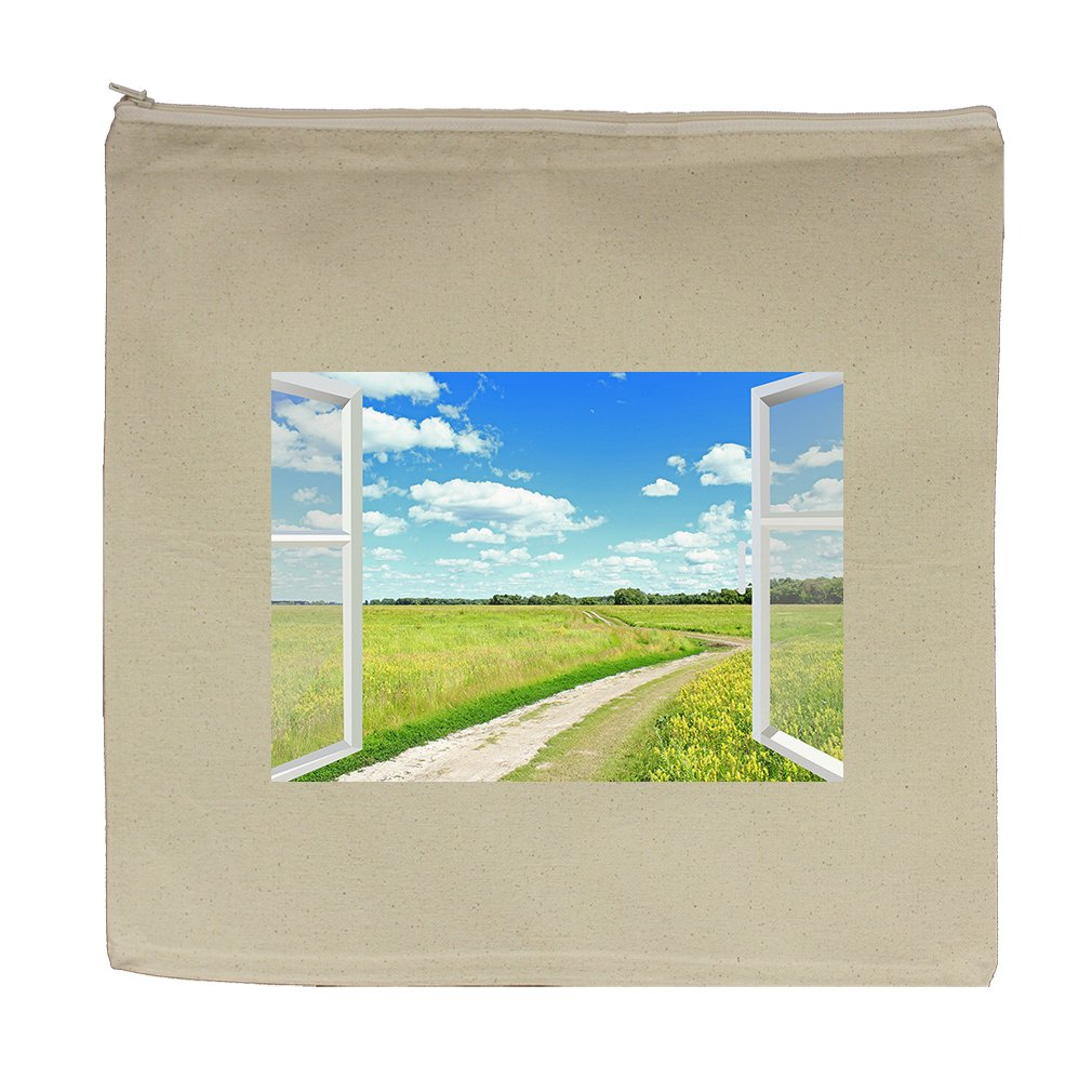 Canvas Zipper Pouch Tote Bag 5.5''X7.5'' Clouds Meadow And Country Road Style 1