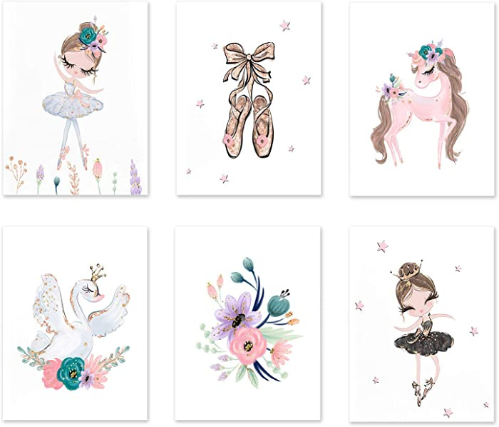 Canvas Wall Art Room Decor,girl Ballerina Art Print, Ballerina Canvas Prints,room Decor Gift for Girl, Ballerina Print Art Set, Pink Gold Purple Posters and Prints, Ballerina Shoes Wall Picture (8