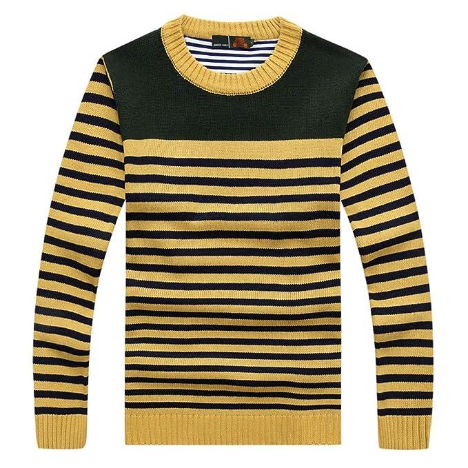 Otoño e Invierno de los Hombres suéter de Punto a Rayas de Moda Casual Tendencia de Internet: Amazon.es: Ropa y accesorios