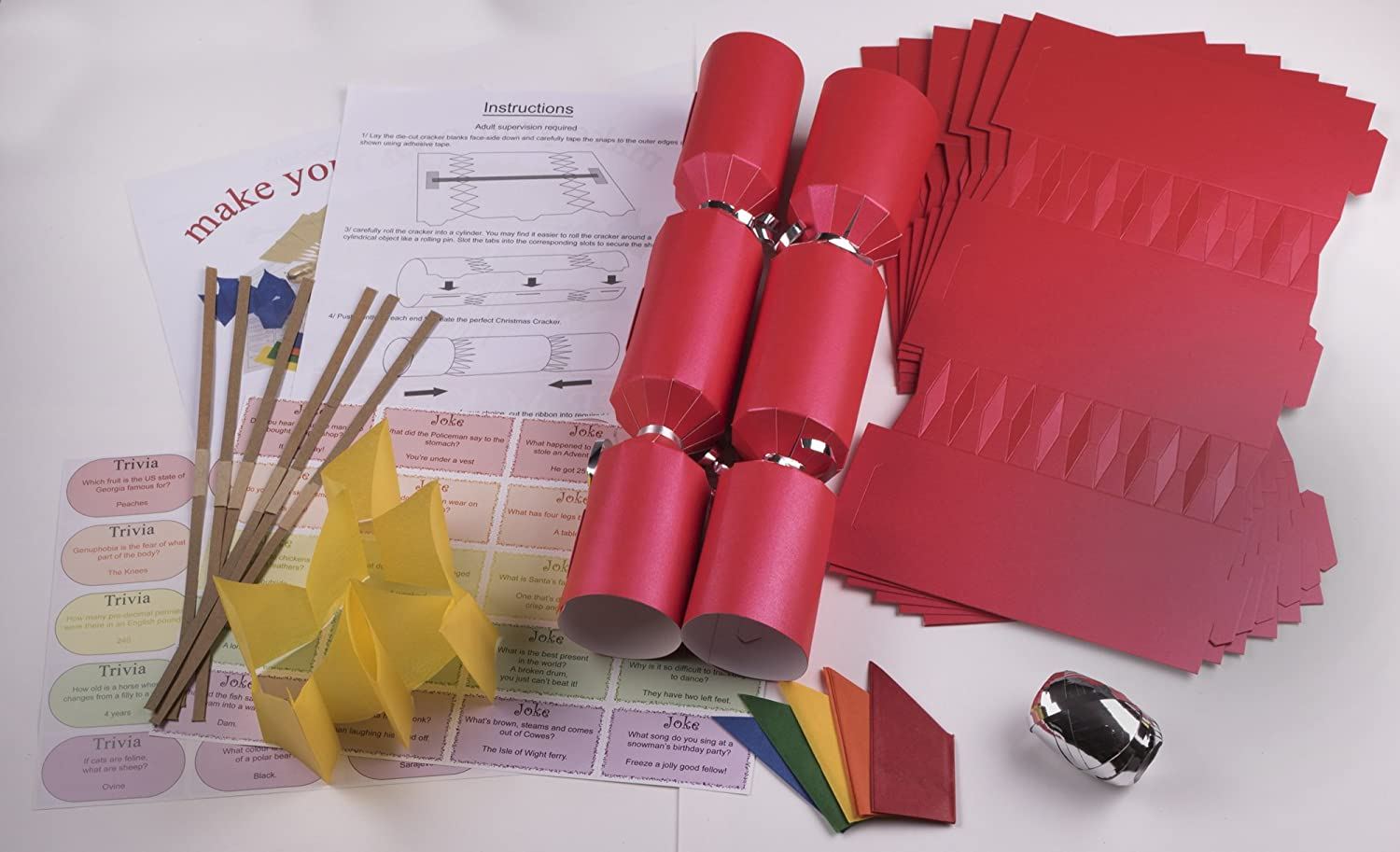10 x make your own large 14 35cm christmas cracker kits red 10 x make your own large 14 35cm christmas cracker kits red amazon toys games solutioingenieria Choice Image