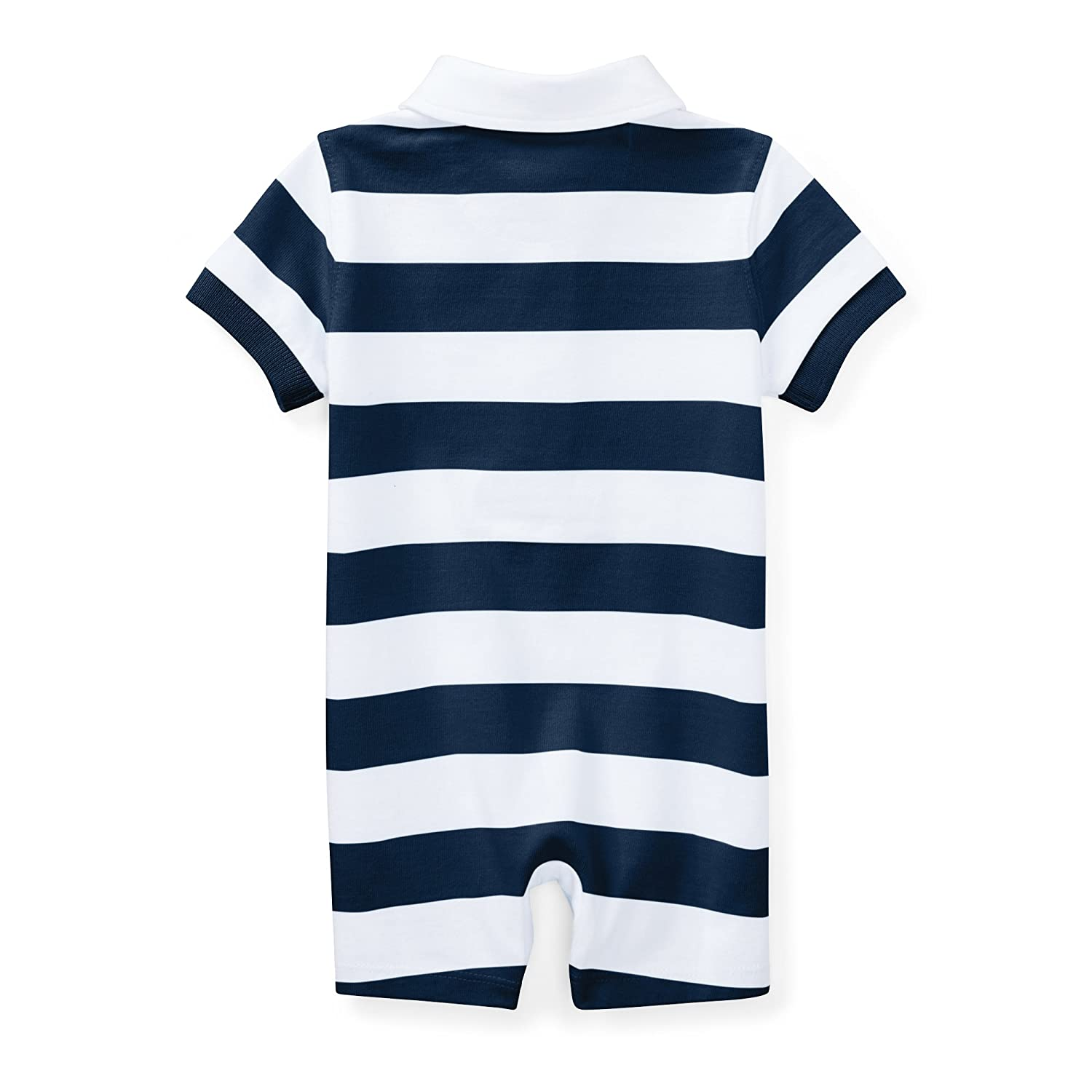 b9a829d5 Amazon.com: RALPH LAUREN Baby Boys Striped Cotton Rugby Shortall (24  Months, Summer Navy/White): Clothing