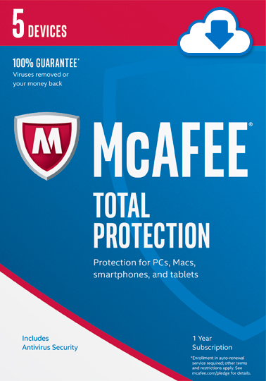 Mcafee 2017 Total Protection   5 Devices  Online Code