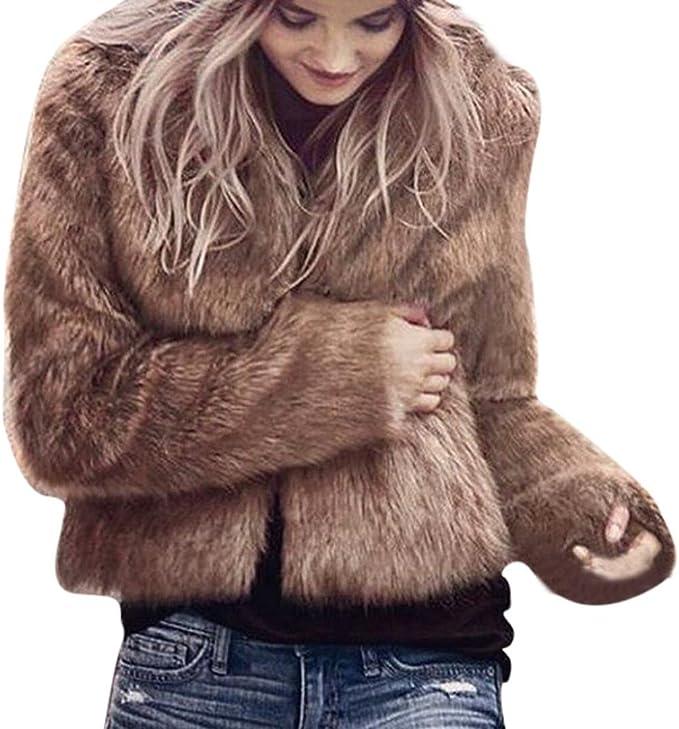 Hirolan Fake Fur Mantel Damen Winter Warm Mantel Lange Hülse Oberbekleidung Mode Weste Jacke Damen ParkaTop Kleidung Wintermantel Parka Coat mit