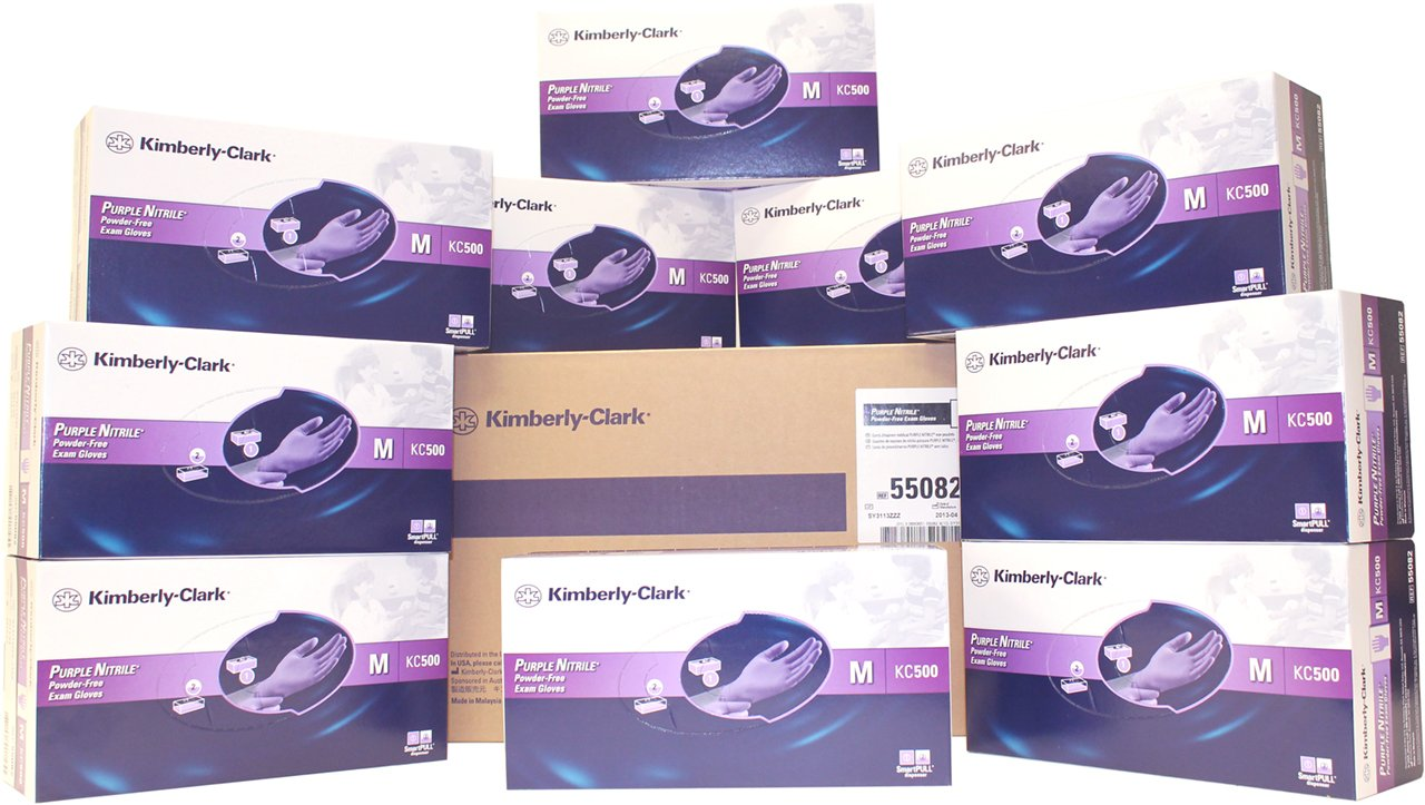 Kimberly Clark Purple Nitrile Exam Gloves SIZE: Medium, 100/BX (Case of 10 Boxes