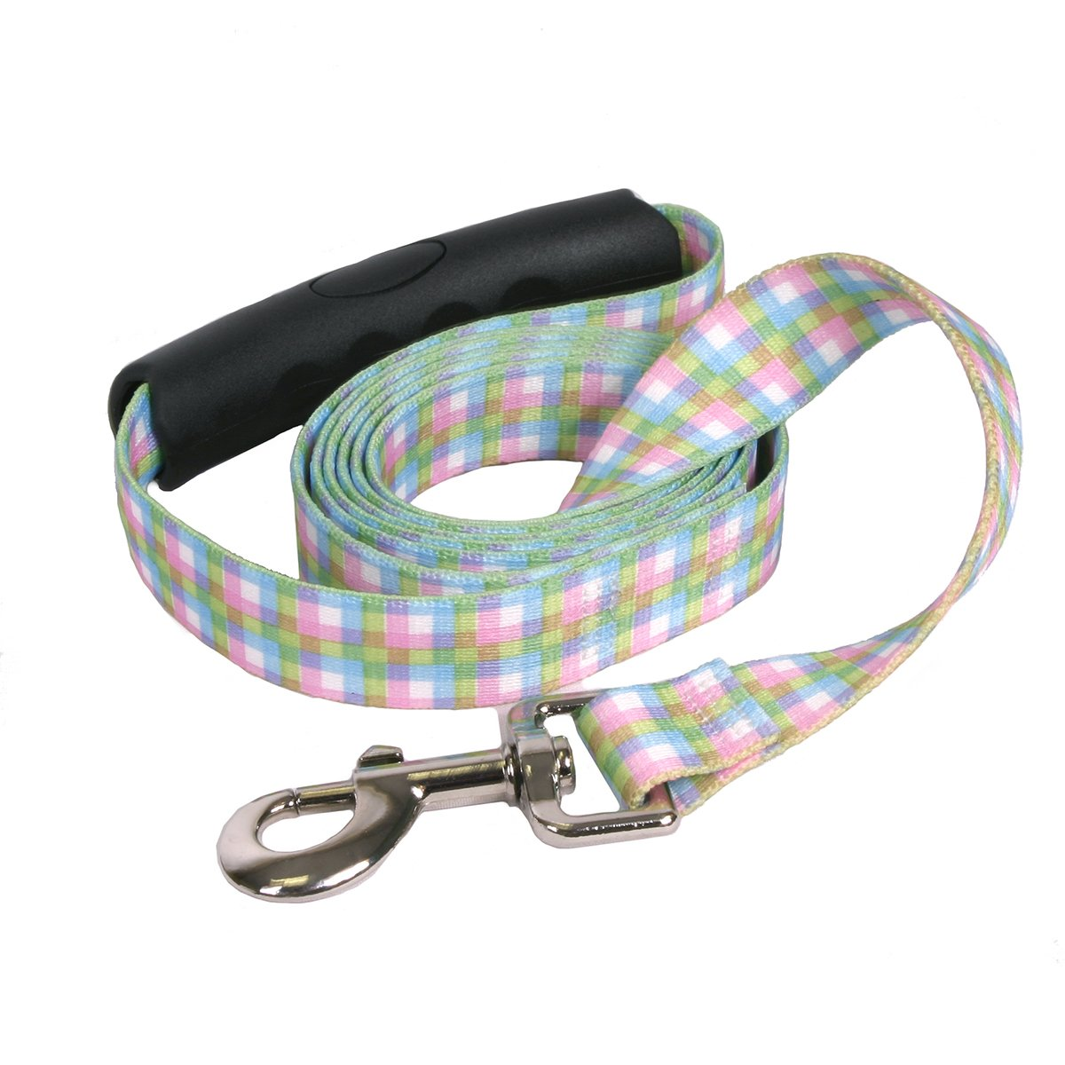 Yellow Dog Design Southern Dawg Gingham Multi Plaid Dog Leash with Comfort Grip Handle-Large-1'' and 5' (60'') Made in The USA