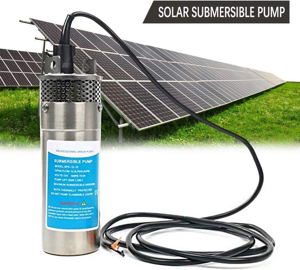 HUKOER 3,2GPM Bomba Sumergible Solar Ultra Silenciosa para Estanque, Acuario, Pecera, Fuente, Irrigando, Multipropósitos Máximo Sumergible 30 m (24V)