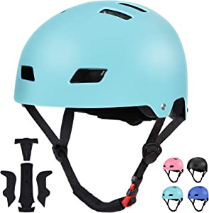 SKL Kids Skateboard Helmet, Bike Helmet for 8-12 Years Old, Adjustable Helmet, Impact Resistance Lightweight Helmet for Skating Cycling Scooter Skateboarding Inline Skating Longboard Boys Girls