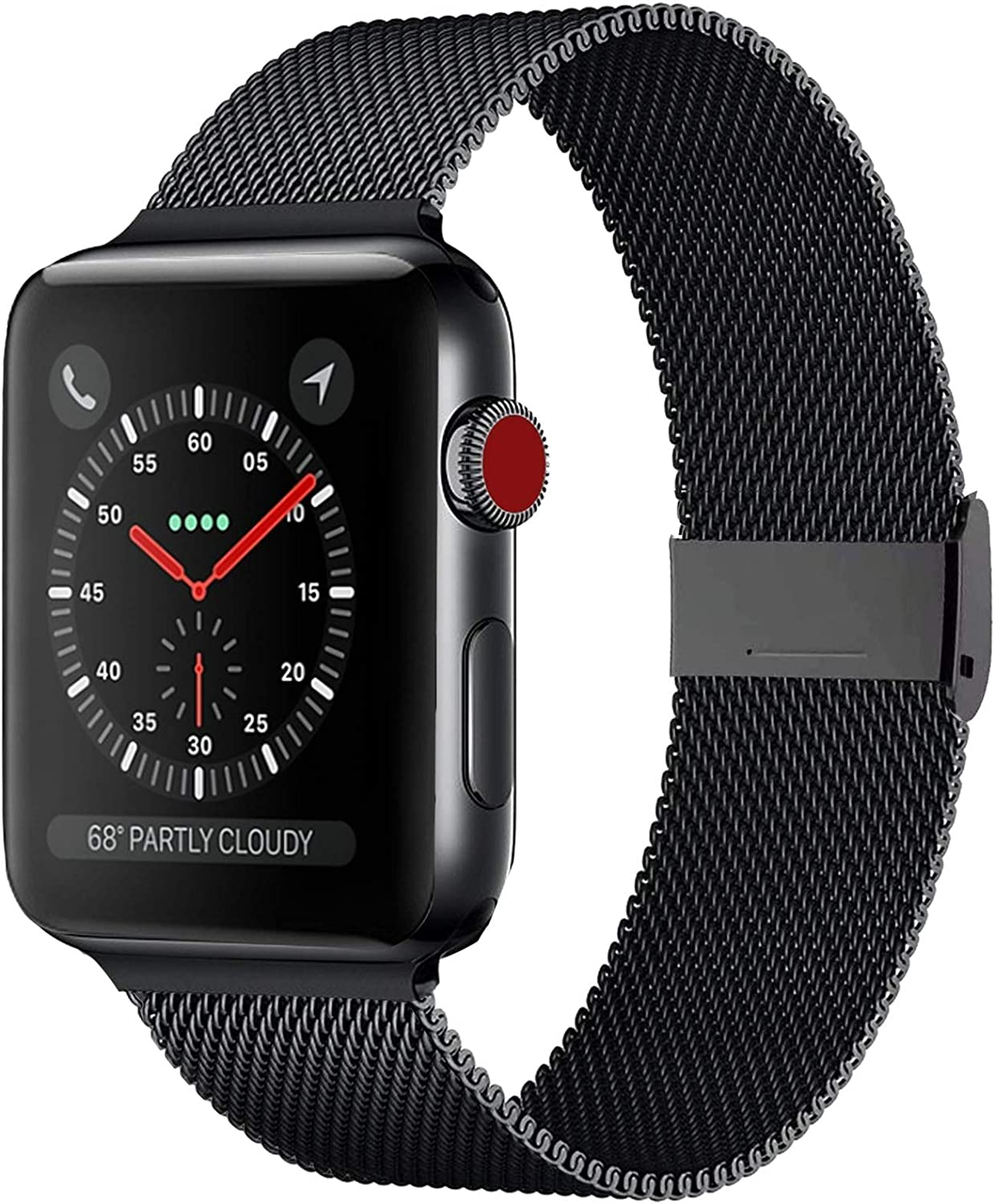 Compatible for Apple Watch Band 38mm 40mm 42mm 44mm, Sports Wristband Stainless Steel Metal Strap Replacement Band for Iwatch Series 6/SE/5/4/3/2/1,42mm,Black