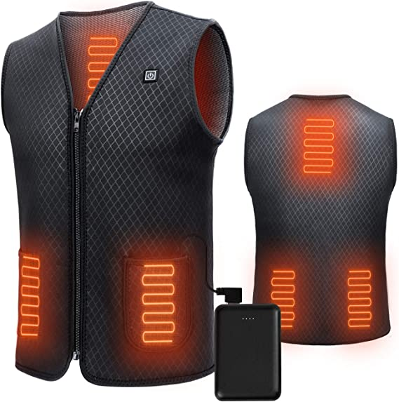 JS LifeStyle Heated Vest for Men with Battery Pack Lightweight Mens Heated Vest Rechargeable Up to 12H Warm Care