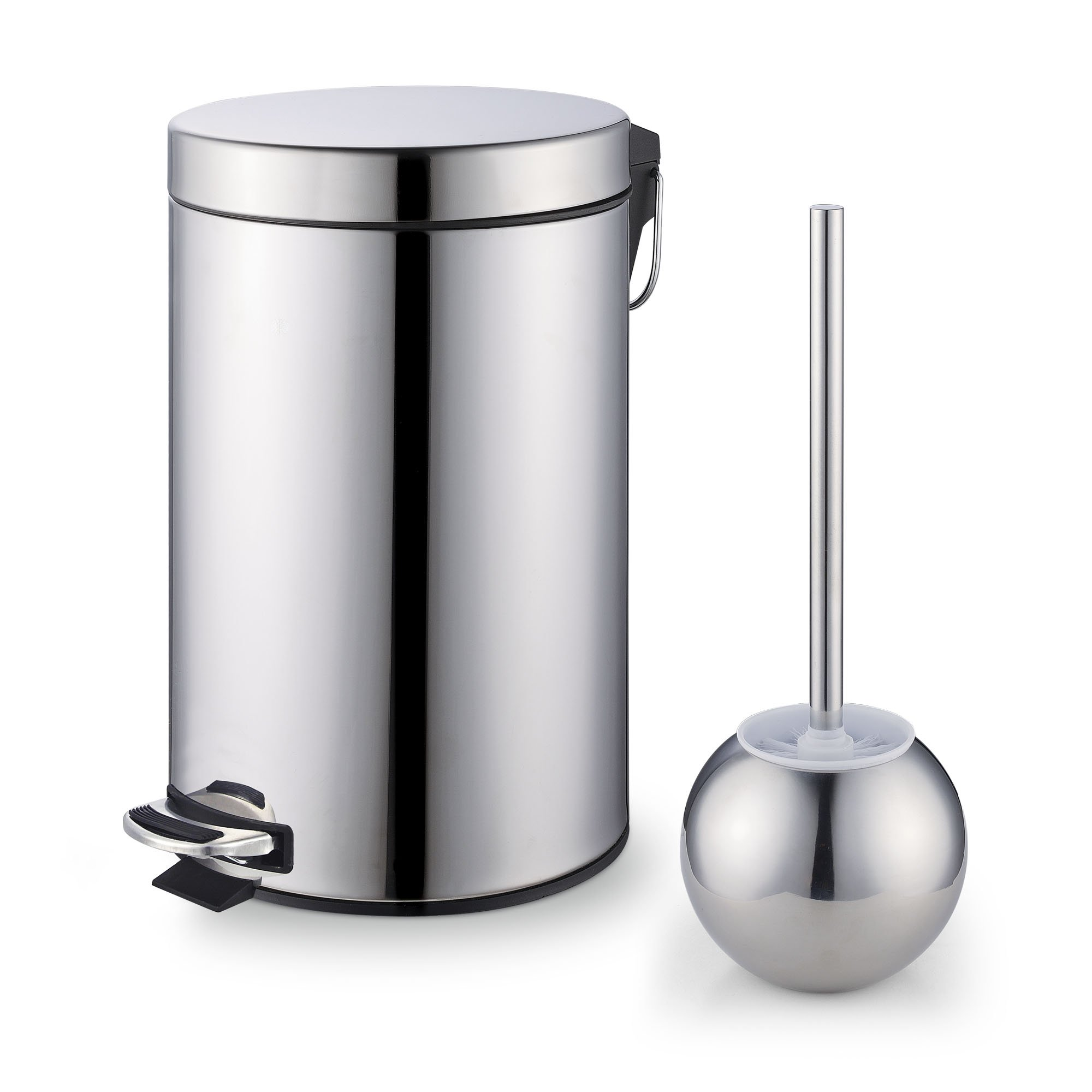 Cook N Home Stainless Steel Step Trash Can/Bin and Toilet Brush with Holder Set, 7 Liter, Round by Cook N Home
