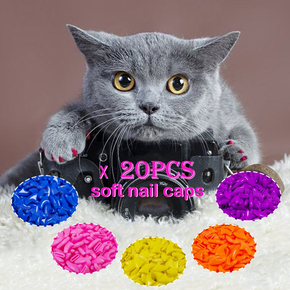 Muhan 20Pcs Soft Pet Cat Nail Caps Claws Control Paws with Glue Prevent Scratching Silicone Fingernails