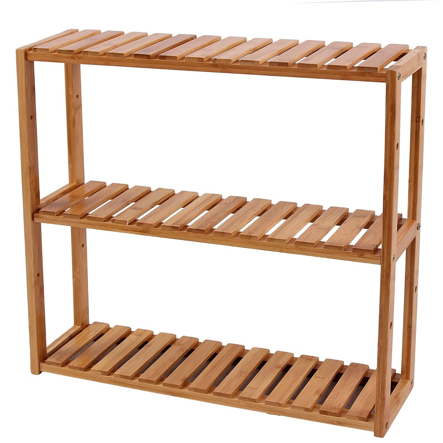 songmics adjustable bamboo rack bathroom kitchen living room holder 3tier utility storage shelf