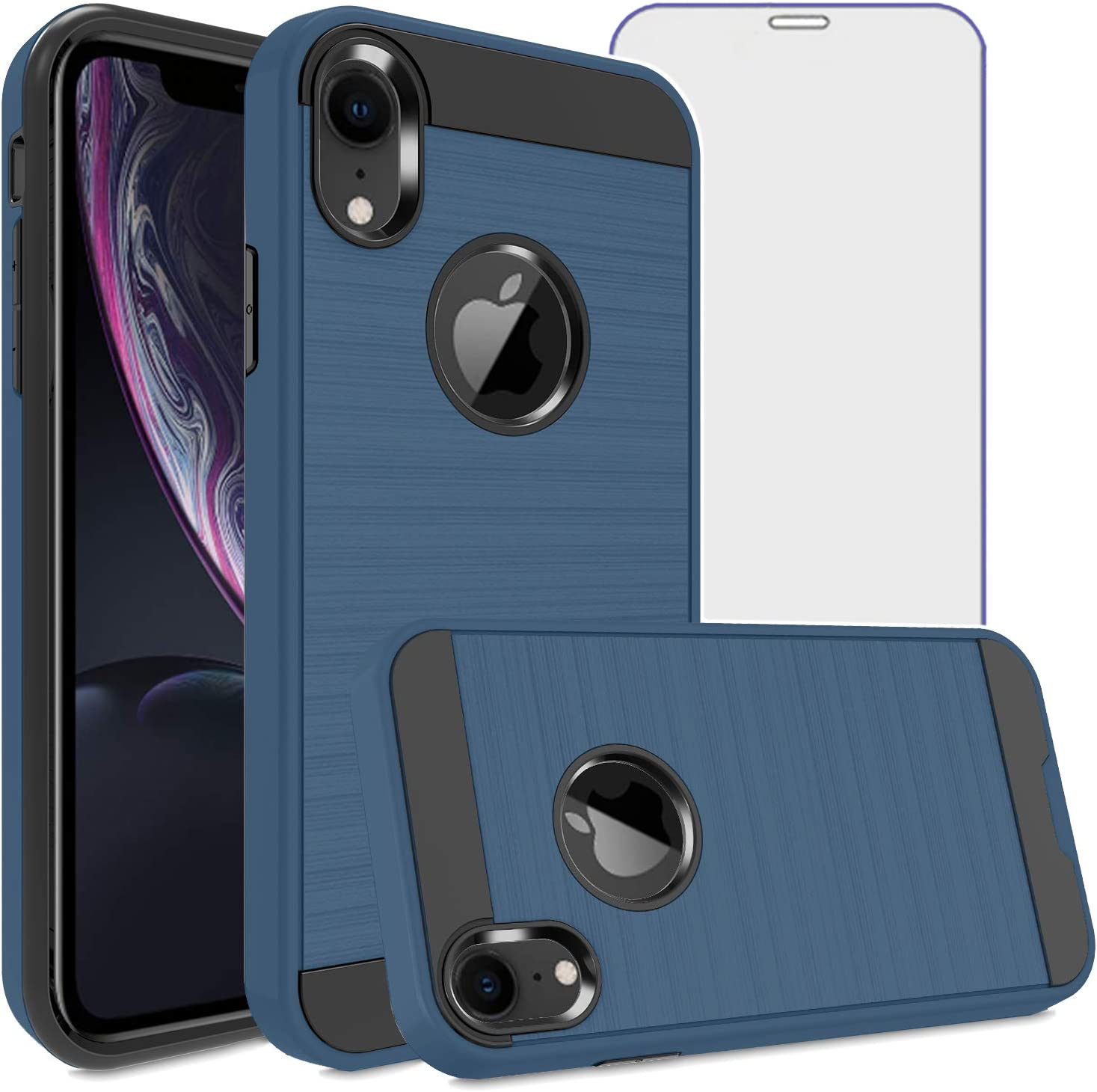 Asuwish Compatible with iPhone XR Case Tempered Glass Screen Protector Cover Grip Slim Hard Shockproof Protective Cell Phone for iPhoneXR iPhone10R i Phonex 10XR 10R 10 R RX CR iPhoneXRcases Navy