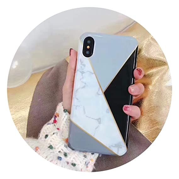 e83c296a94cf73 Image Unavailable. Image not available for. Color  Marble Case for iPhone  Xs Max XR X 10 Fashion Geometric ...