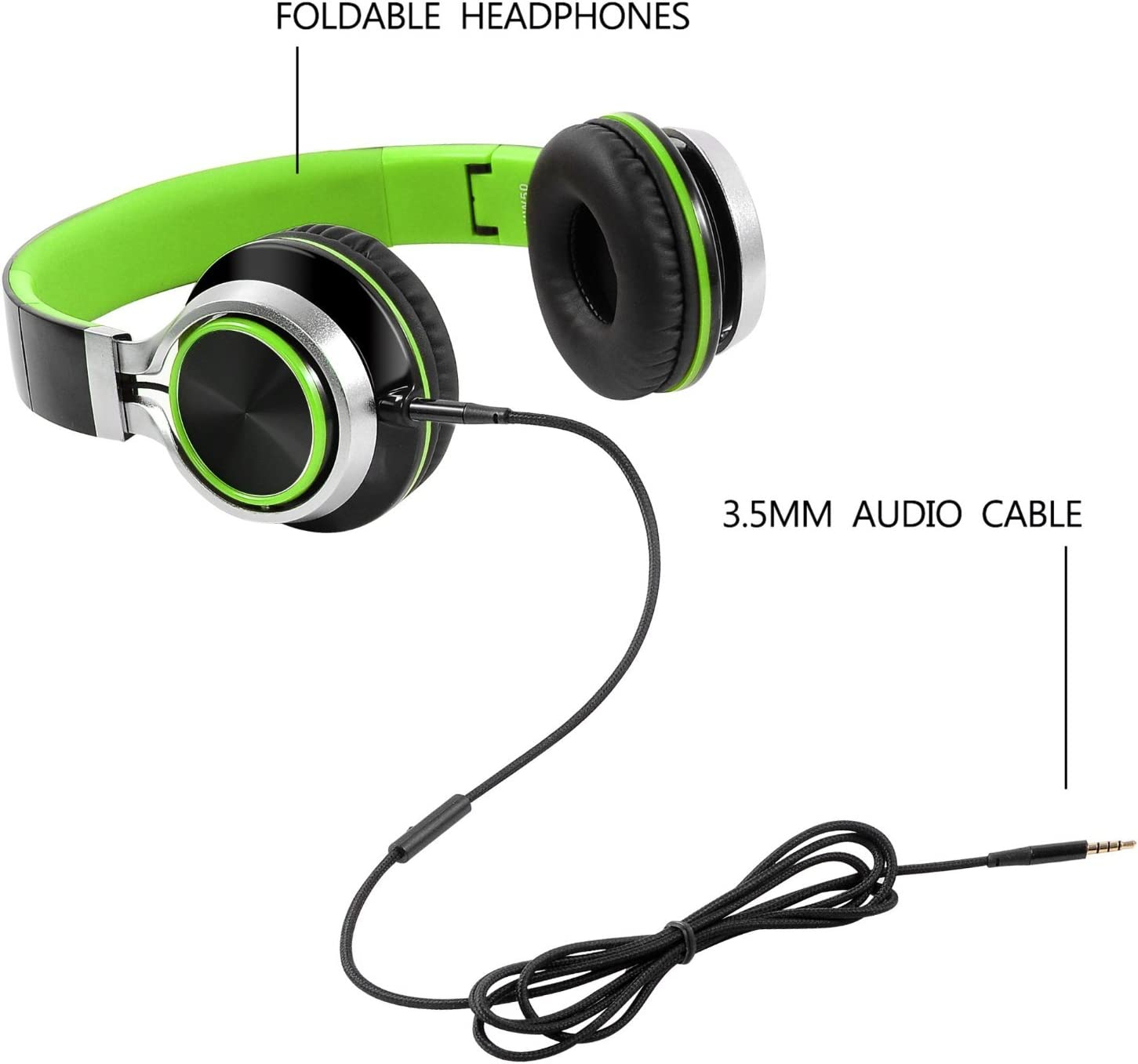 Mp3//mp4 PC Black/&Green Laptop Headphones,BienSound HW50 Stereo Folding Headsets Strong Low Bass Headphones with Microphone for iPhone Tablet Macbook Earphones All Android Smartphones