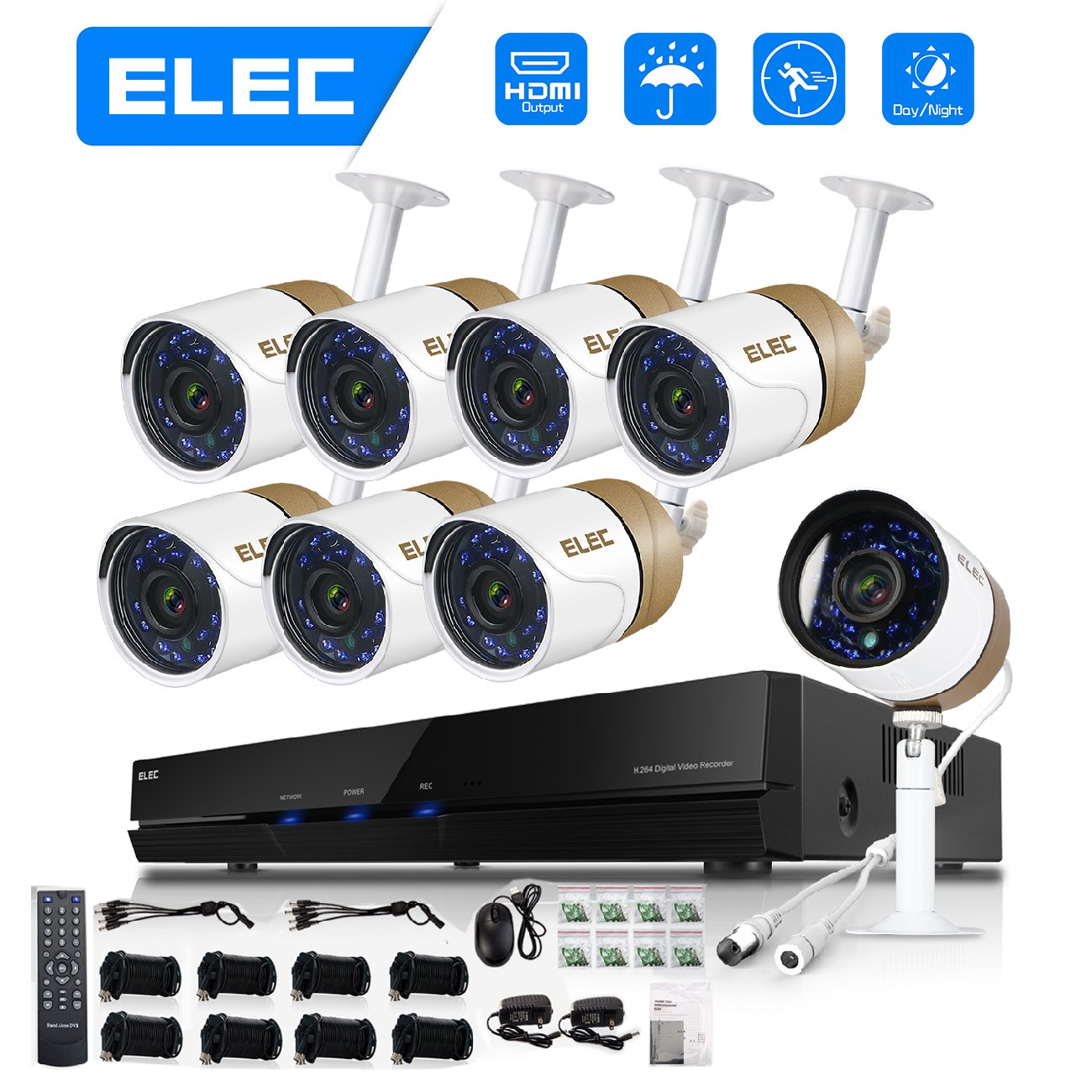 ELEC 8CH HDMI 960H DVR 1500TVL Outdoor Indoor Day Night IR-CUT CCTV Surveillance Home Video Security Camera System ,8 Weatherproof Cameras 1.0MP, 65ft Night Vision, No Hard Drive by ELEC (Image #1)