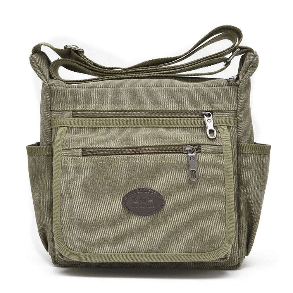 Qflmy Vintage Canvas Messenger Bag Handbag Crossbody Shoulder Bag Leisure Change Packet (green) Qflmy02371