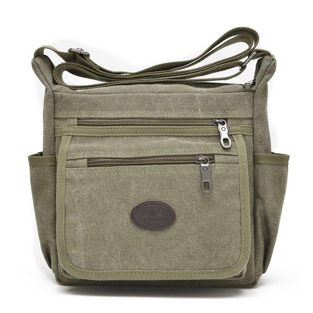 Qflmy Vintage Canvas Messenger Bag Handbag Crossbody Shoulder Bag Leisure Change Packet (green)